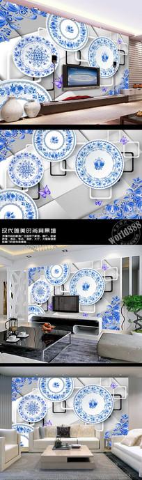 青花花纹瓷盘立体方框3D时尚古典中式背景墙