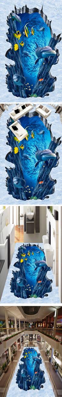 蔚蓝海底世界立体地画