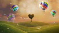 心形树热气球绿草地视频
