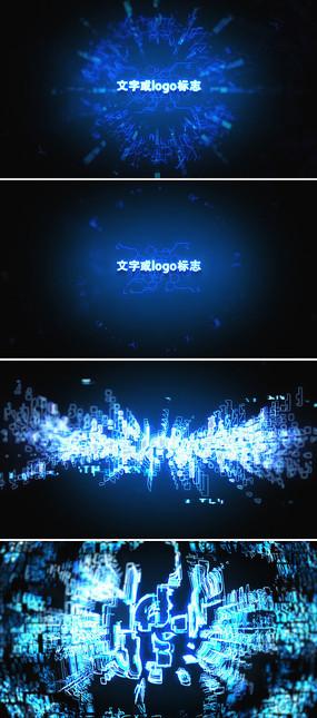 蓝色高科技logo标志显示ae模板