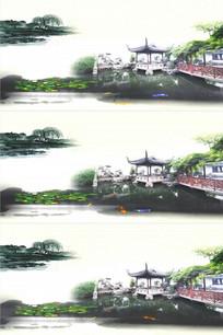 水墨江南庭院荷塘假山水金鱼视频