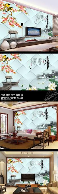 忆江南花鸟荷塘软包淡雅中式背景墙