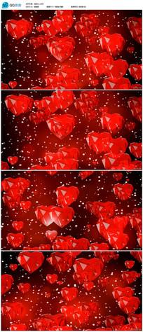 红色钻石爱心背景视频