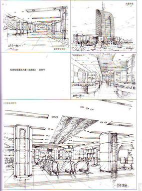 芜湖电讯通信大厦手绘线描