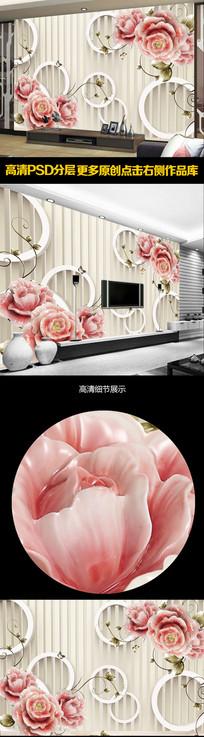 3D玫瑰现代简约电视背景墙装饰画