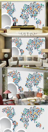 3D时尚彩色地图背景墙图片