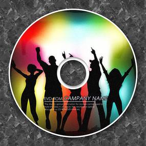 彩色人物剪影CD光盘 PSD