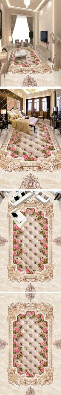 大理石石纹拼花瓷砖3D地板