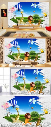 动物世界儿童房背景墙图片