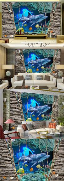 海底世界沙发电视背景墙图片