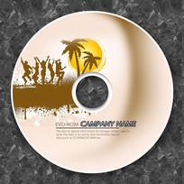海滩落日光盘CD模板