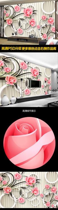 玫瑰花3D电视背景墙装饰画