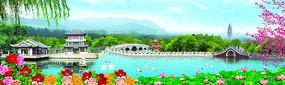 牡丹阁楼拱桥粤剧背景