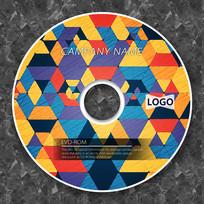 暖色调几何古典DVD盘面模板