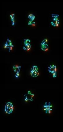 荧光数字字体设计 PSD