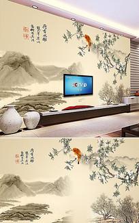 中国风山水画电视背景墙图片