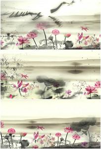 中国风水墨画蜻蜓荷花莲花小船流水视频