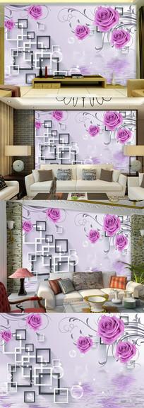 紫色玫瑰花倒影立体电视背景墙图片