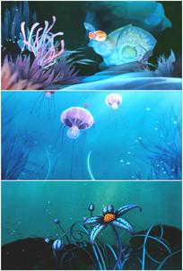 海底世界鱼儿游动水母海蜇视频