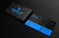 黑蓝酷炫名片设计