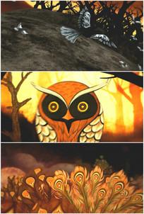 烈日沙漠雄鹰飞舞猫头鹰火焰羽毛视频