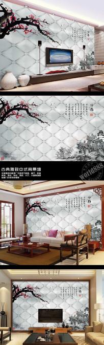 梅花古画软包时尚中式背景墙