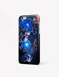 璀璨牡丹花鸟手机壳图案