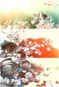 水墨春暖花开花朵绽放蝴蝶飞舞唯美视频