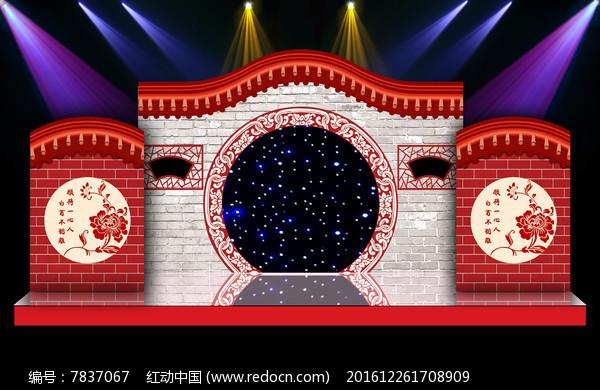 中式汉式古典婚礼现场背景布置背景图片