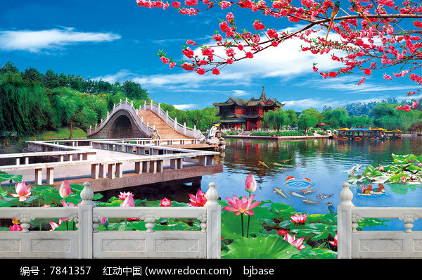 汉白玉石雕栏板荷花桥粤剧背景图片