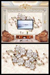 立体花朵电视背景墙