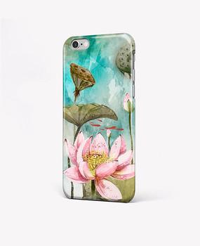 水彩手绘荷花花朵手机壳图案