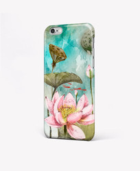 水彩手绘荷花花朵手机壳图案 PSD