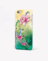 绚丽水彩牡丹手机壳图案