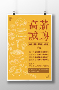 中国风美食餐饮宣传招聘海报