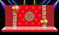 大气高档中式婚礼中舞台背景PSD设计制作