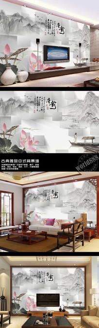 古画山水荷花唐韵时尚中式背景墙