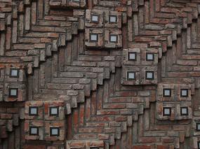 几何砖墙图案拼接