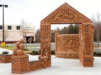 精美红砖雕塑景观