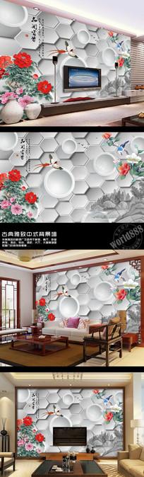 牡丹杜鹃花鸟花开富贵中式背景墙