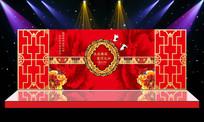 牡丹花开中式古典婚礼婚庆舞台背景PSD设计
