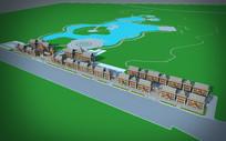泰国风情建筑东南亚风格建筑鸟瞰3Dmax模型下载