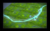 武夷山下梅村沿溪地形图 景观鸟瞰模型素材