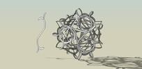 圆圈铁艺扣环雕塑
