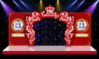 中式婚礼中国红舞台背景PSD设计