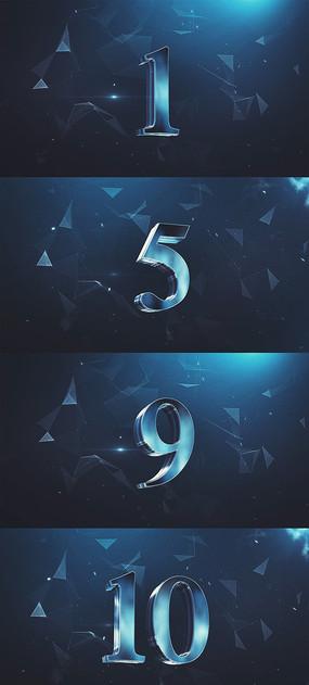3D质感10秒倒计时视频素材