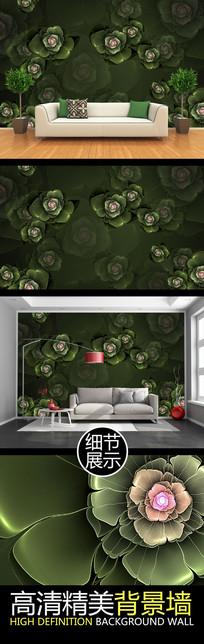 暗绿浮雕花卉电视背景墙