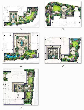 手绘别墅水池平面图