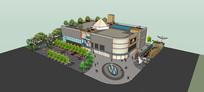 带楼顶休闲场所商场模型