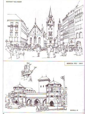 德国慕尼黑广场景观手绘